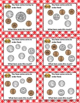 Counting Money with a Menu MIXED COINS to $1.00