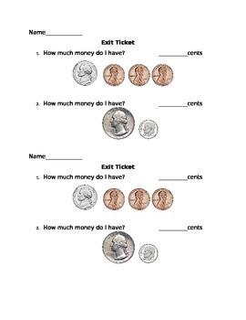 Counting Money Exit Ticket