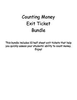 Counting Money Exit Ticket Bundle