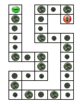 Counting Money Game Board and 2 Digit - 1 Digit Subtraction