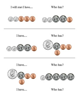 Counting Money Game - I have, who has?
