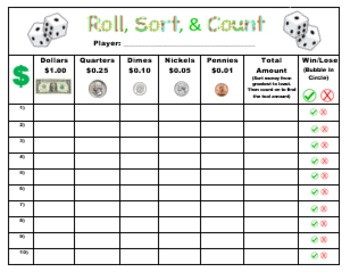 """""""Roll, Sort, and Count"""" A Game That Makes Counting Money Fun!"""