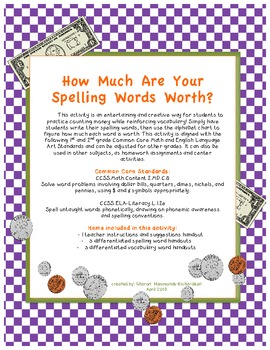 Counting Money: How Much Are Your Spelling Words Worth?