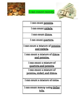 Counting Money I Can Statements for Data Notebooks