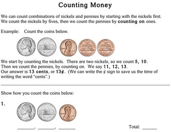 Counting Money, second grade - worksheets - Individualized Math