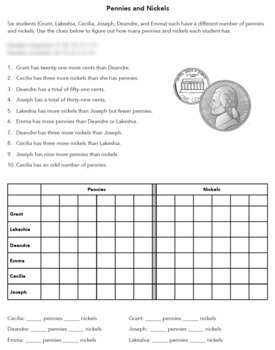 Counting Money Logic Puzzle & Graphing, Gr 4 - 7 - Great for Critical Thinking!