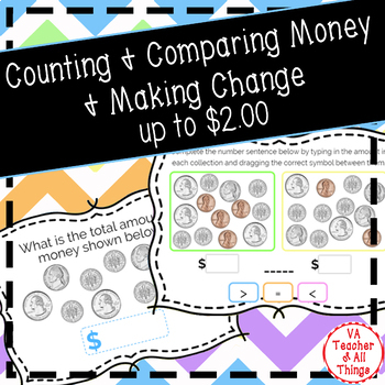 Counting & Comparing Money & Making Change up to $2 Boom Cards SOL 3.6