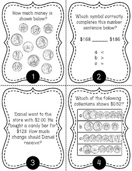 Counting Money & Making Change up to $2 Task Cards