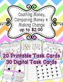 Counting Money & Making Change up to $2 Task Cards Bundle SOL 3.6