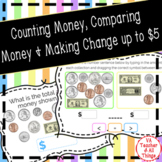 Counting & Comparing Money & Making Change up to $5 Boom Cards SOL 3.6