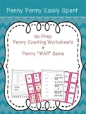 Counting Pennies Worksheets and War Game