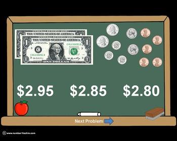 Counting Money PowerPoint Quiz - Matching Worksheet & Key Included!