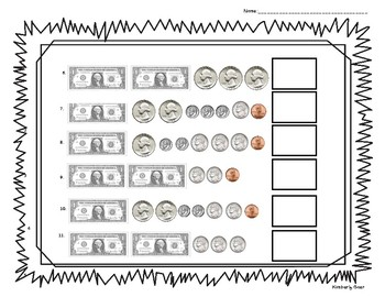 counting money practice worksheet coins and dollar bills by 4 little baers. Black Bedroom Furniture Sets. Home Design Ideas