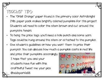 Counting Money Pumpkin Patch Craftivity