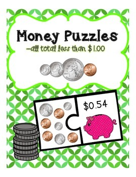Counting Money Puzzles Set 1 (change to $1.00)