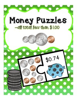Counting Money Puzzles Set 2 (change to $1.00)