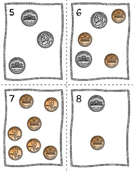Counting Money Scoot Task Cards With Pennies and Nickels