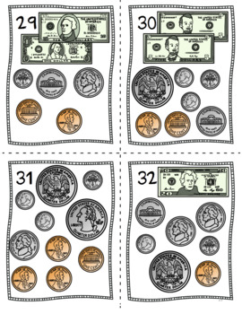 Counting Money Scoot Task Cards - Pennies, Nickels, Dimes, Quarters and Dollars