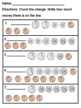 Counting Money Scoot and Worksheets Printables