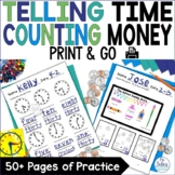 Counting Money Telling Time First Grade Math Printables fo