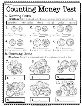 Counting Money Test: 2-Page Quiz with Answer Key (Includes Coins and Bills)