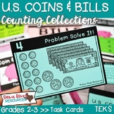 Counting Money: U.S. Coins and Bills | Third Grade Money | Math Task Cards