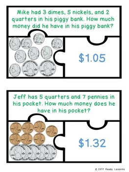 Counting Money Word Problems Game Puzzles with Coins and Dollar Bills 2.MD.8