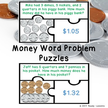 Counting Money Word Problem Game 2nd Grade Counting Coins & Bills Puzzles 2.MD.8