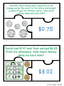 Counting Money Word Problem Game 2nd Grade Count Coins & Bills Puzzles 2.MD.8