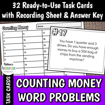 Counting Money Word Problems Task Cards