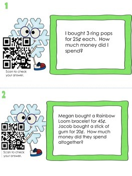 Counting Money ~ Word Problems with Self Check QR Codes