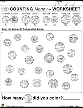 Counting Money Grades K-3 Coins & Dollar Bills (Workbook #1)