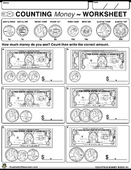 Counting Money Workbook Grades K-3 Coins & Dollar Bills (Samples from Books1-5)