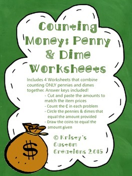 Counting Money Worksheets: Adding Pennies & Dimes