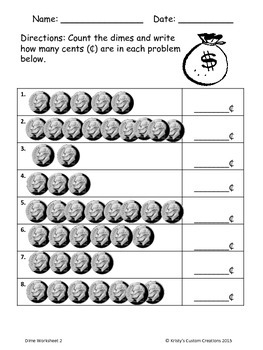 Counting Money Worksheets: Dimes