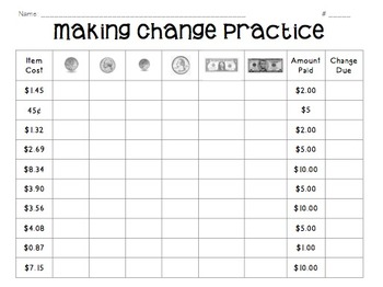 Counting Money and Making Change- Practice, Assessment, & Game