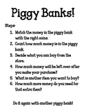 Counting Money and Making Purchases Piggy Bank Workshop