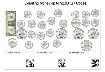 Counting Money up to $2.00 QR Code - 2nd-3rd Grade
