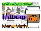 2.MD.8 - Money Word Problems - Menu Math - Halloween/October Themed