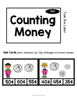 Counting Money with Mixed Coins Task Box