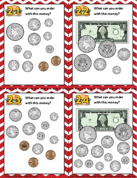 Counting Money with a Menu - VALUES ABOVE $1.00