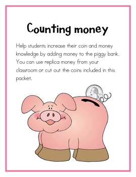 Counting Money  with a piggy bank