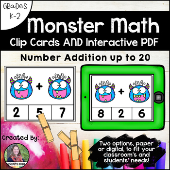 Counting Monster Teeth Math Clip Cards AND Interactive PDF Game