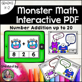 Counting Monster Teeth Math Interactive PDF: Addition to 20