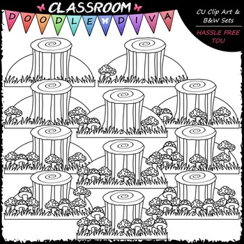 (0-10) Counting Mushrooms Clip Art - Counting & Math Clip Art & B&W Set