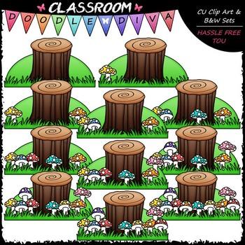 Counting Mushrooms Clip Art - Counting & Math Clip Art & B&W Set