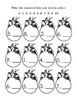 Counting Next In Order Numbers Up To 10 Halloween Witches 2pages