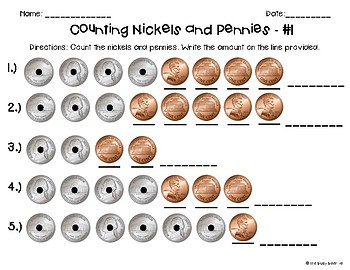 Counting Coins Worksheets: Nickels and Pennies