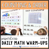 Counting + Number Order - Unit 3 First Grade Math Paperless Warm-Up Lessons