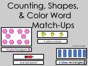 Counting, Number, Shape, and Color Words Matching
